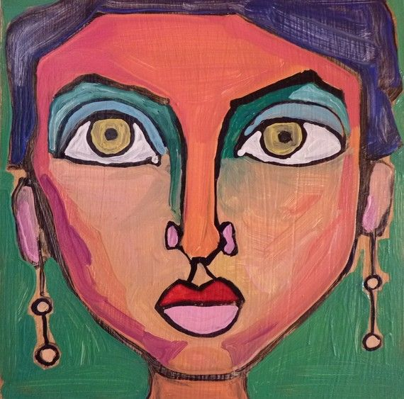 Painting Of Womans Face Original Oil Painting Portrait Painting Madame Indigo Contemporary Art Painting Portrait Contemporary Art Painting Portrait Painting