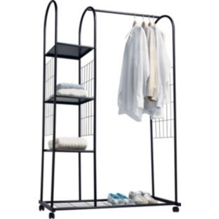 Buy Argos Home Clothes Rail With Shelves Silver Hanging Rails And Canvas Wardrobes Argos Clothes Rail With Shelves Clothes Rail Hanging Rail
