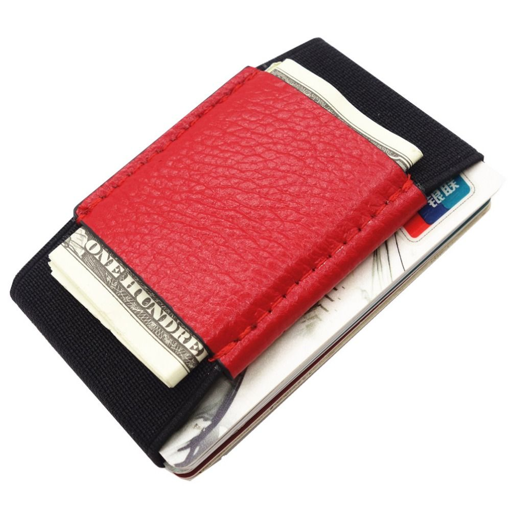 Minimalist Slim Wallet With Elastic Front Pocket Card Holders And