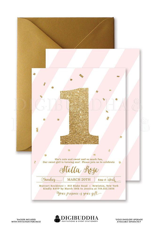 Blush Pink Stripes Gold Glitter 1 Baby Girl First Birthday Party Invitation With Confetti And Double Sided