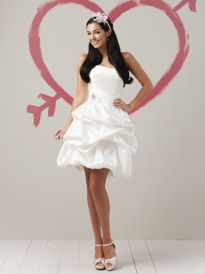 Designer Wedding Dresses New Collection Strapless Droped Bodice Short Dress