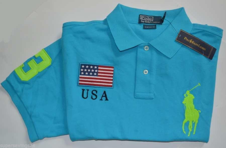 $125 New XL POLO RALPH LAUREN Mens Big Pony US Flag shirt blue USA short sleeve
