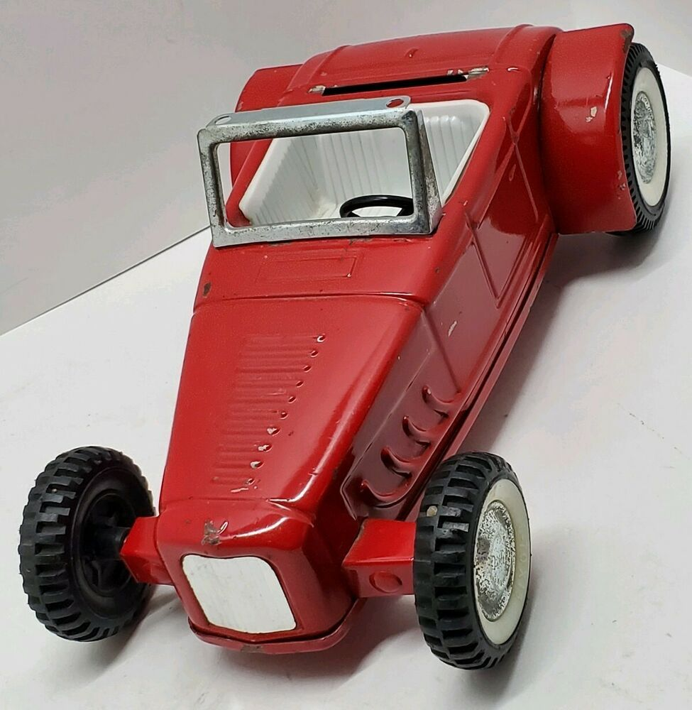 Vtg Red Nylint Toys Ford Metal Toy Race Car Collectible USA Rare Roadster Hotrod