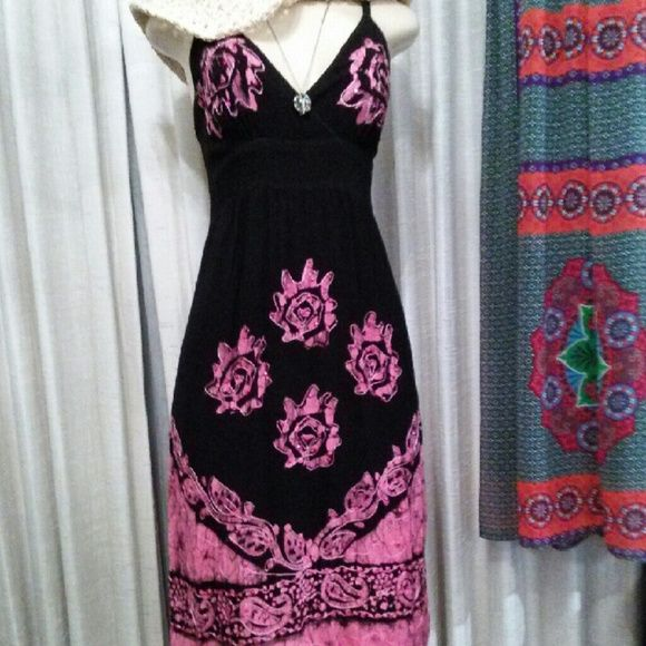Black and Pink Floral Midi Dress Cute and colorful midi dress, good condition, adjustable spaghetti straps, size small Dresses Midi