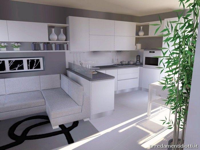 Cucina Spring bianca e porta tv Rack orientabile - DIOTTI A&F ...