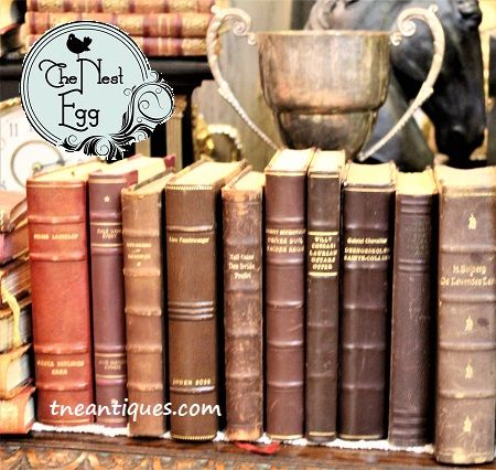 One of our latest finds in our travels---antique leather books in wonderful warm colors