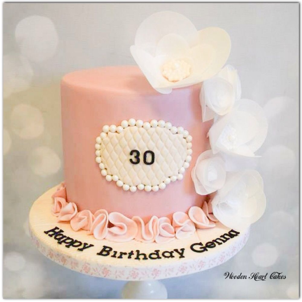 Simple birthday cake with wafer paper flowers for a 30th birthday cake simple birthday cake with wafer paper flowers izmirmasajfo