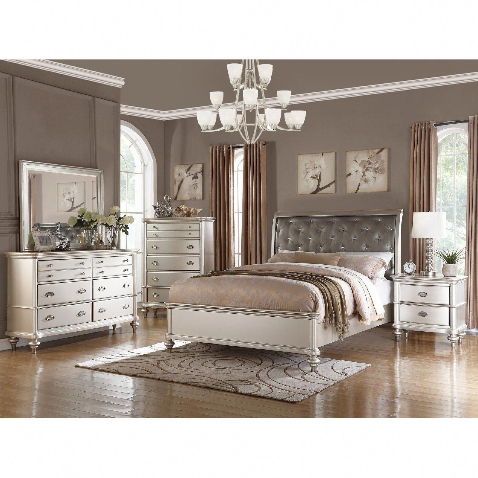 House of Hampton Akiva Upholstered Panel Bed  Wayfair
