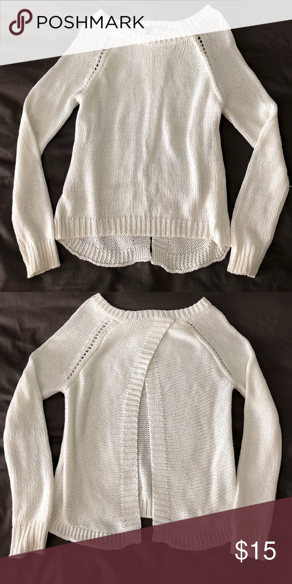 Open back white sweater