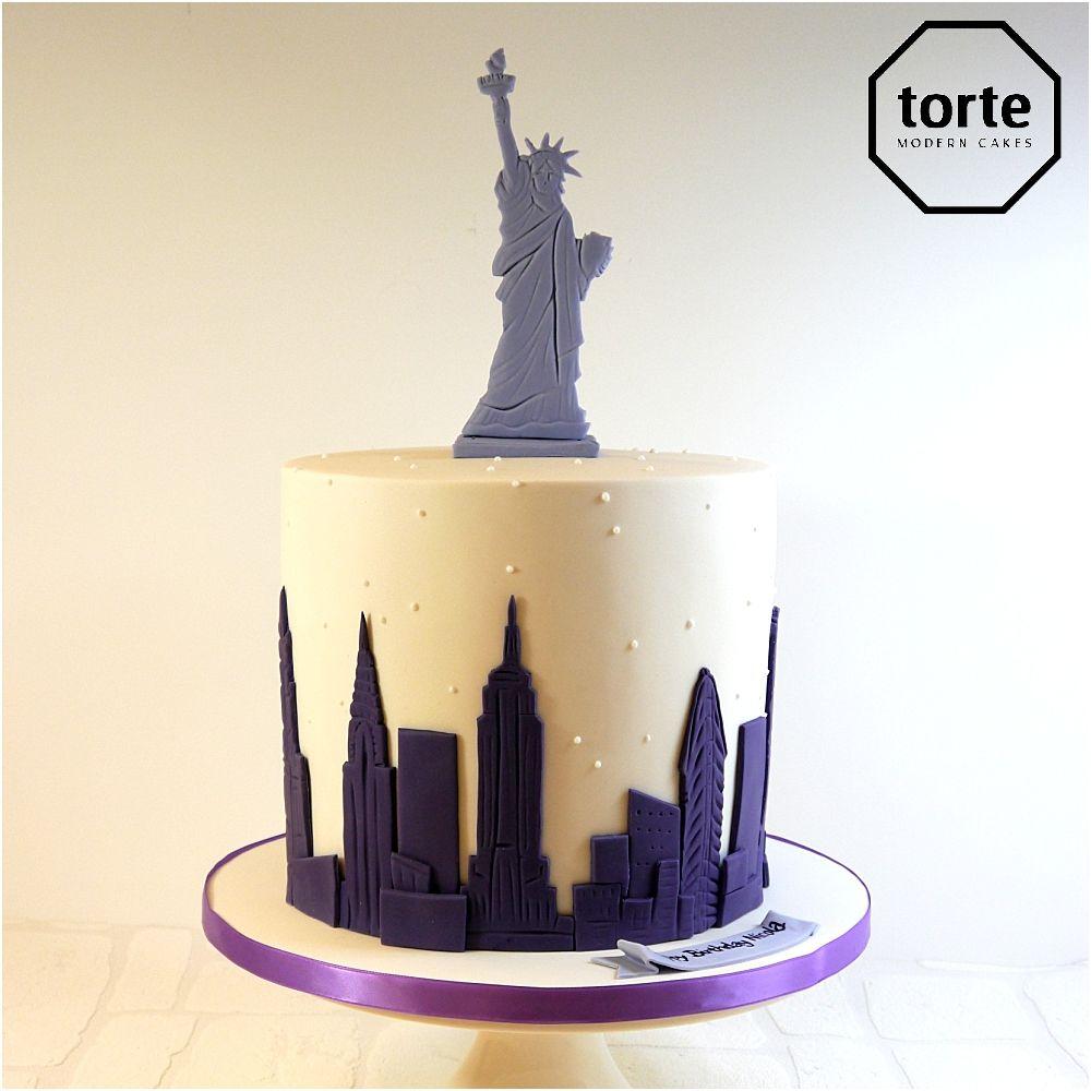 new york skyline birthday cake birthday cake newyork cityscape skyline statueofliberty. Black Bedroom Furniture Sets. Home Design Ideas