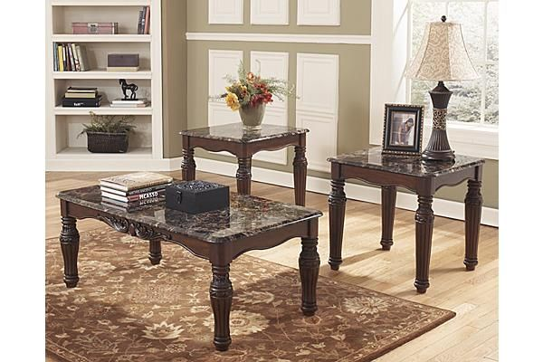 "The North Shore Table (Set of 3) from Ashley Furniture HomeStore (AFHS.com). A rich dark brown finish comes together with the durable faux marble table top and ornate Old World detailing to create the ultimate in grand traditional design that is sure to enhance any home's beauty with the ""North Shore"" accent table collection."