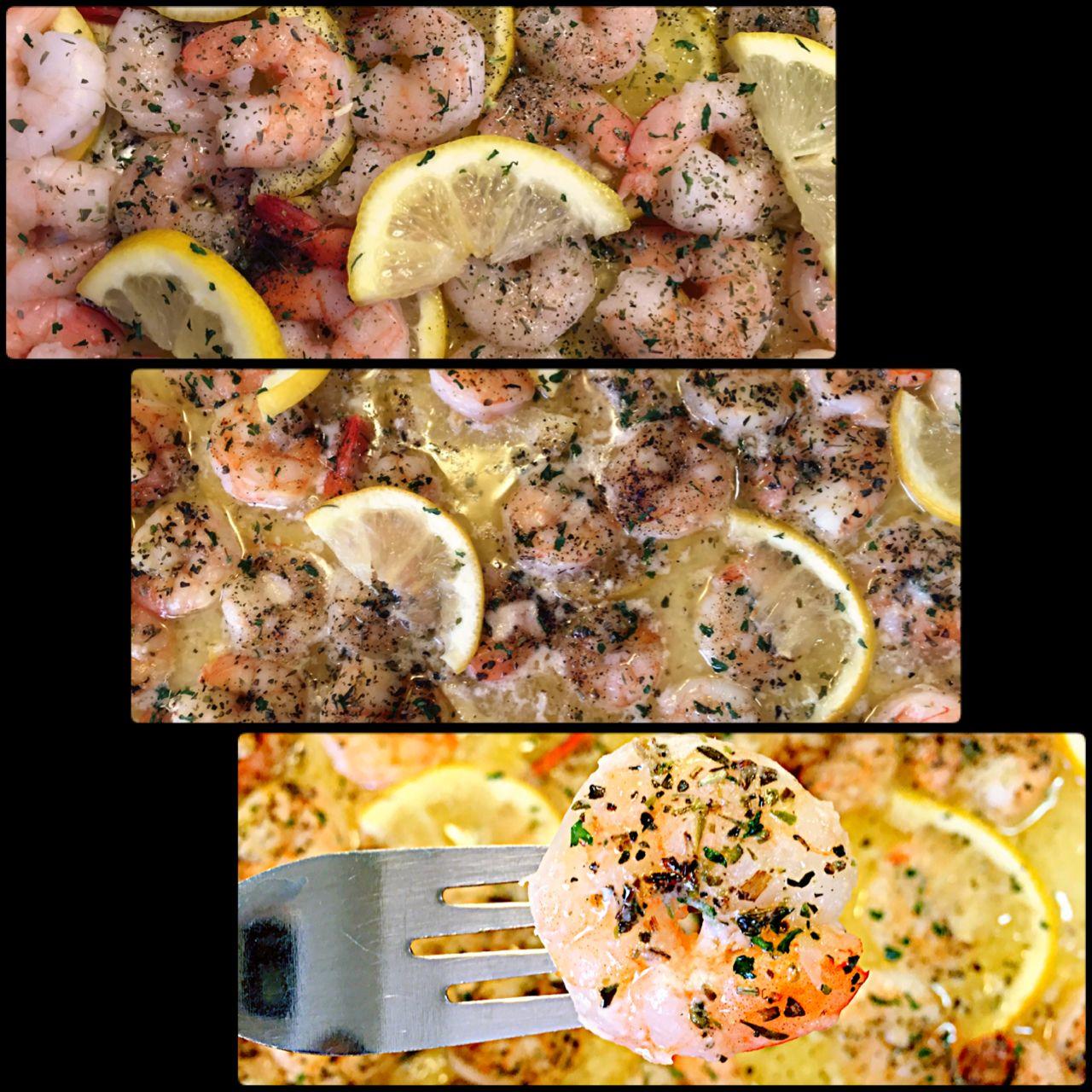 Lemon Butter Baked Shrimp 1 lb. raw shrimp, cleaned, peeled and deveined 8 Tbs. butter (1 stick), melted 3 cloves garlic, minced (I used garlic salt) Italian seasoning 1 1/2 lemon, sliced  1 Tbs. dried parsley leaves 1 tsp. black pepper, ground