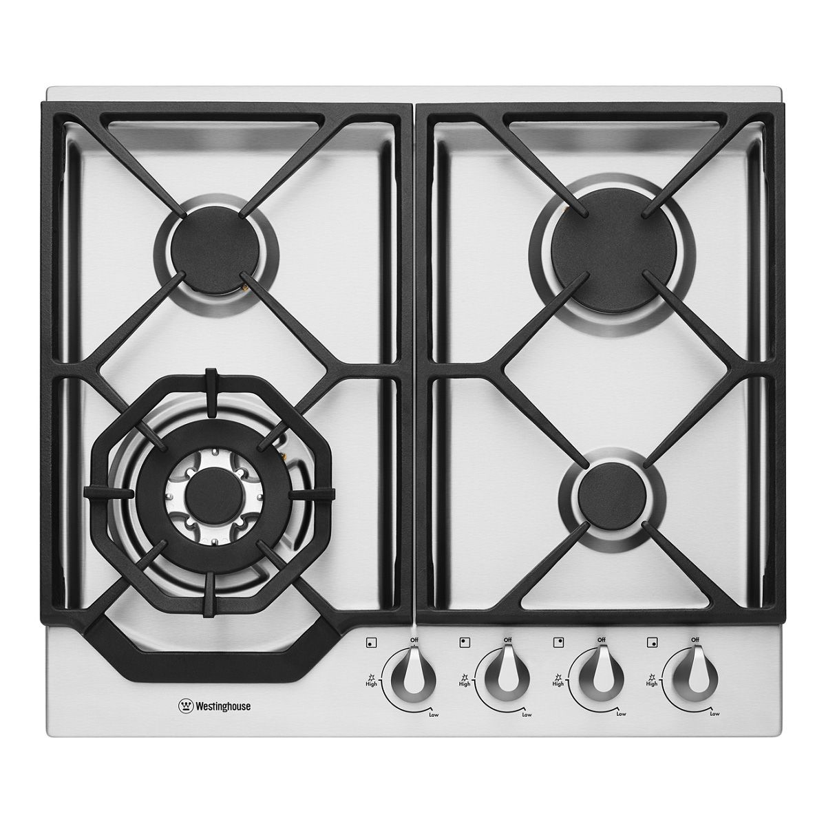 Features Control Knob Finish: Painted Silver FamilySafe trivets Electric Ignition 10A plug & lead High-powered wok burner LPG conversion kits included – Must be converted by a licensed plumber