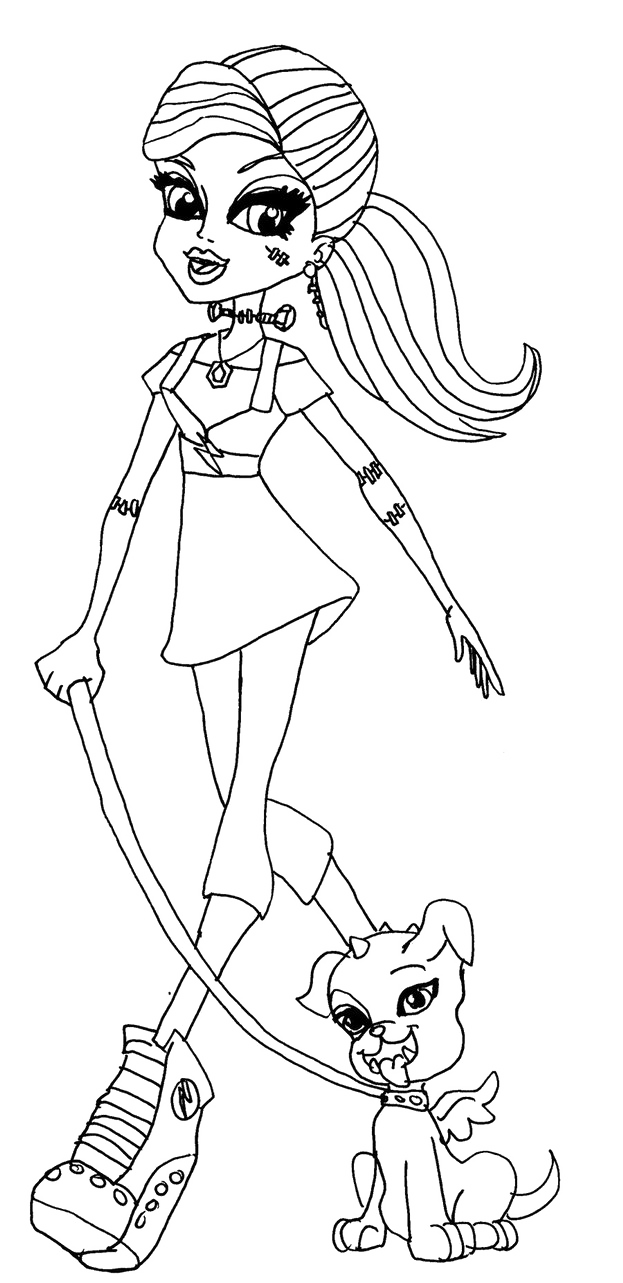 Monster High Frankie Stein And The Dog Coloring Pages - Monster High ...