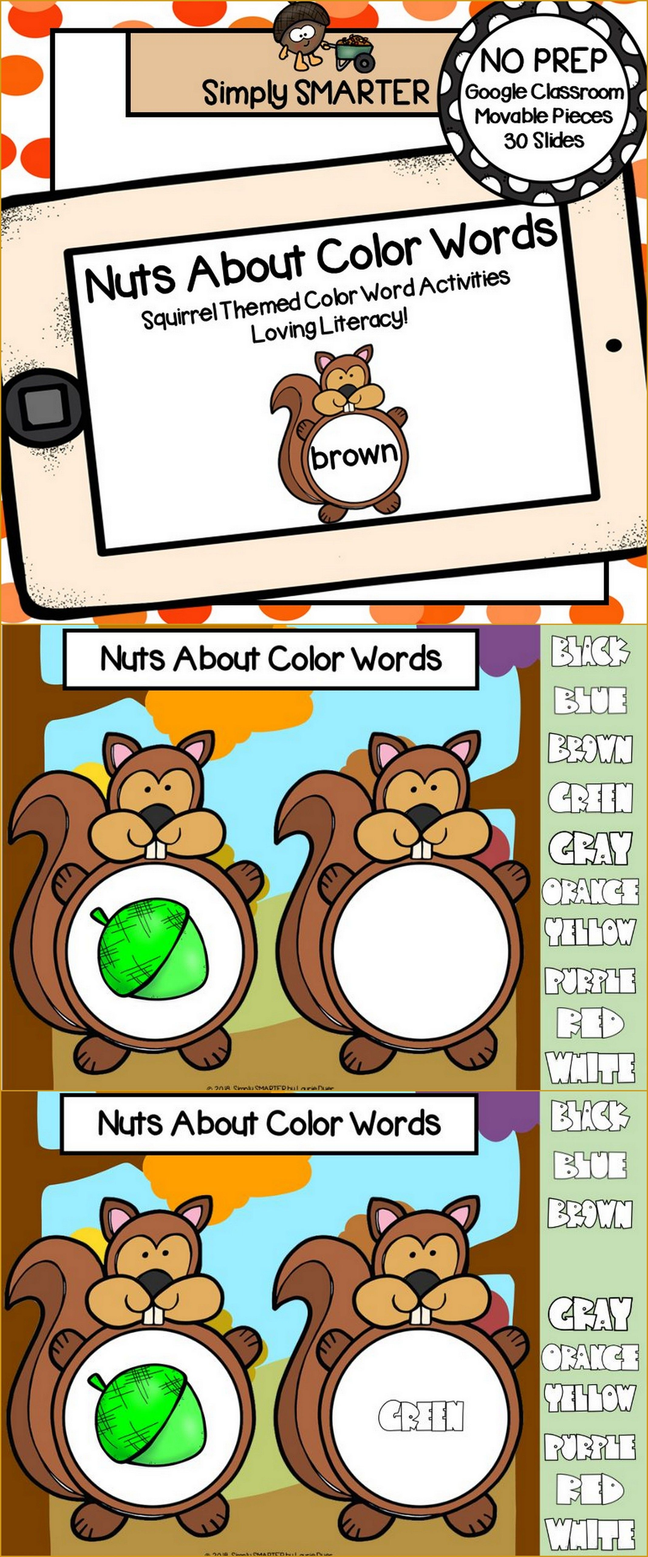 Squirrel Themed Color Word Activities For Classroom