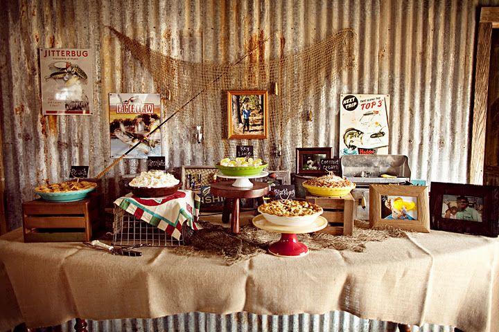 fishing themed grooms dessert table