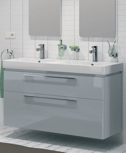 1200 Grey Double Vanity Unit Wall Hung , Wall Hung Design,Double Bowl 2 Tap  Hole Ceramic Washbasin Soft Closing Drawers With Stylish Chrome Handle,, ...