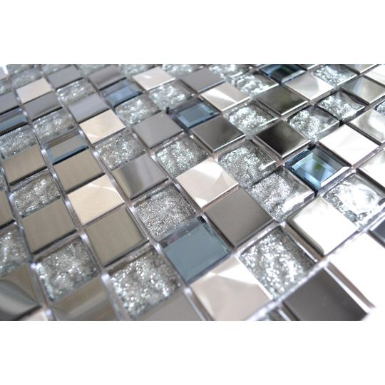 Royal Blue Kitchen: Stainless Steel Tile-Silver Black And Royal Blue Mixed