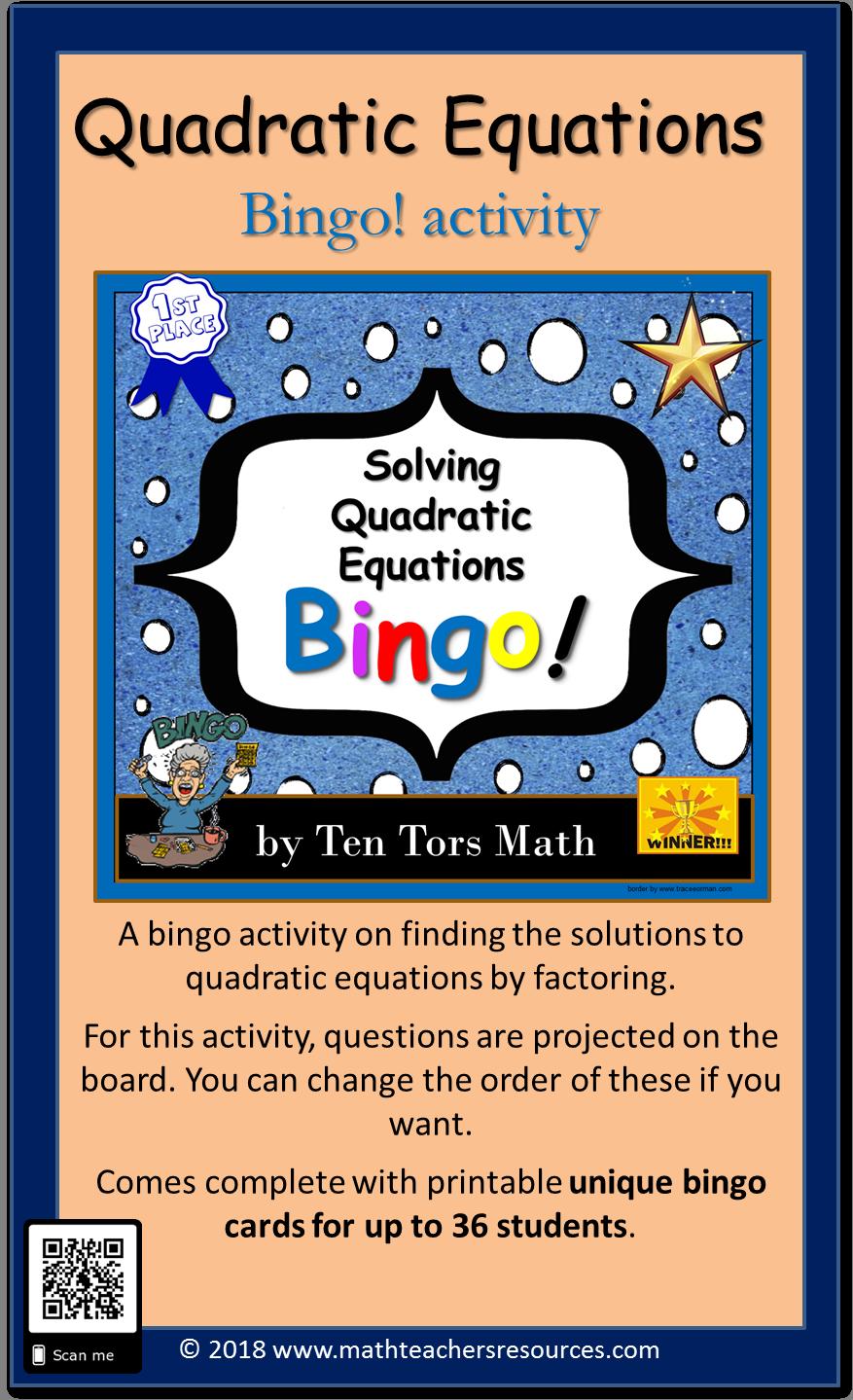 Solving Quadratic Equations Bingo Game A Bingo Activity On Finding The Solutions To Quadratic Equa Combining Like Terms Solving Quadratic Equations Quadratics [ 1439 x 877 Pixel ]