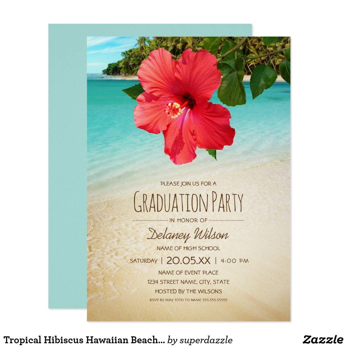 Tropical Hibiscus Hawaiian Beach Graduation Party Card Tropical ...