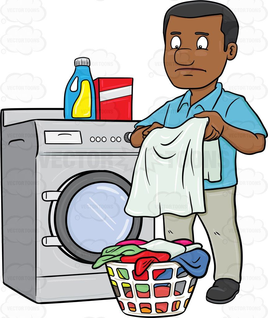 A black man looks at a washed garment with disappointment ...