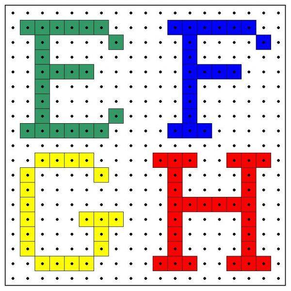 * Letters e-f-g-h