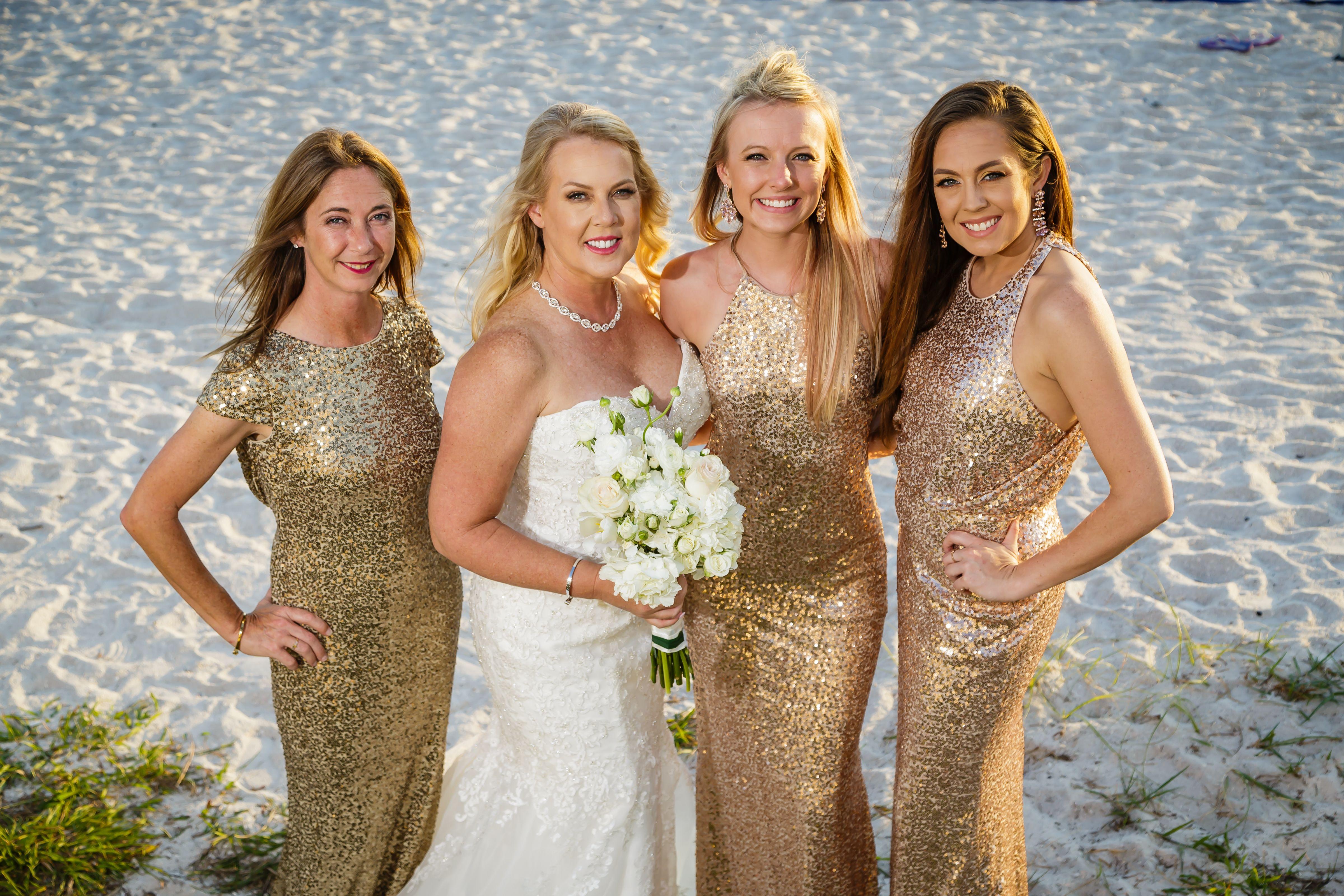 Beach wedding party dresses  Photographers St Pete Beach Weddings Grand Plaza Don CeSar Sirata
