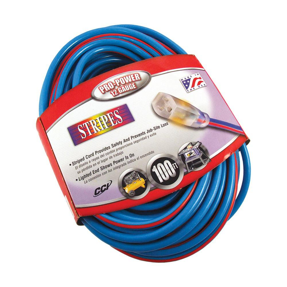 Southwire 100 Ft 12 3 Sjtw Hi Visbility Multi Color Outdoor Heavy Duty Extension Cord With Power Light Plug Blue Red Extension Cord Cord Outdoor Extension Cord
