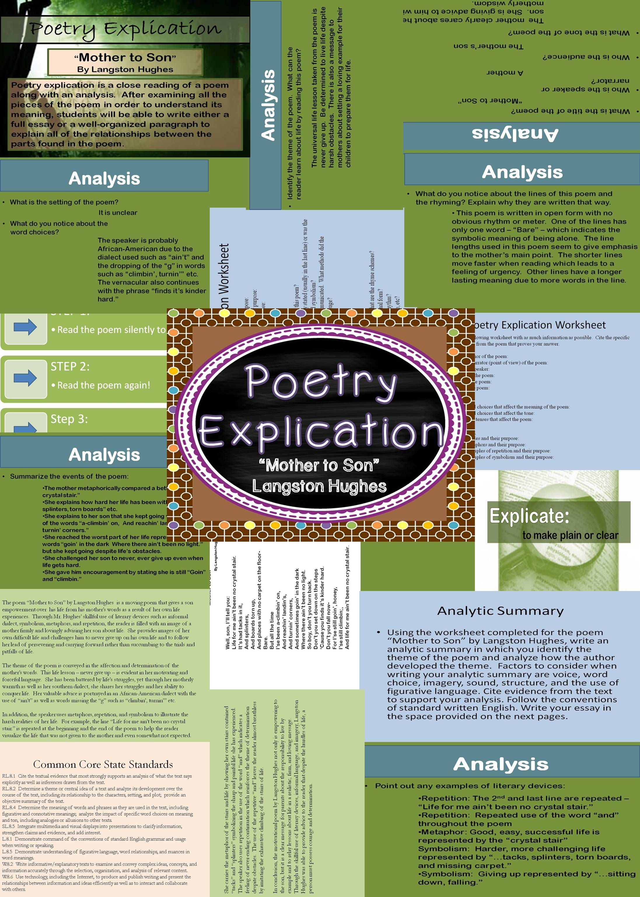 poetry explication mothers poetry and the o jays poetry explication of langston hughes mother