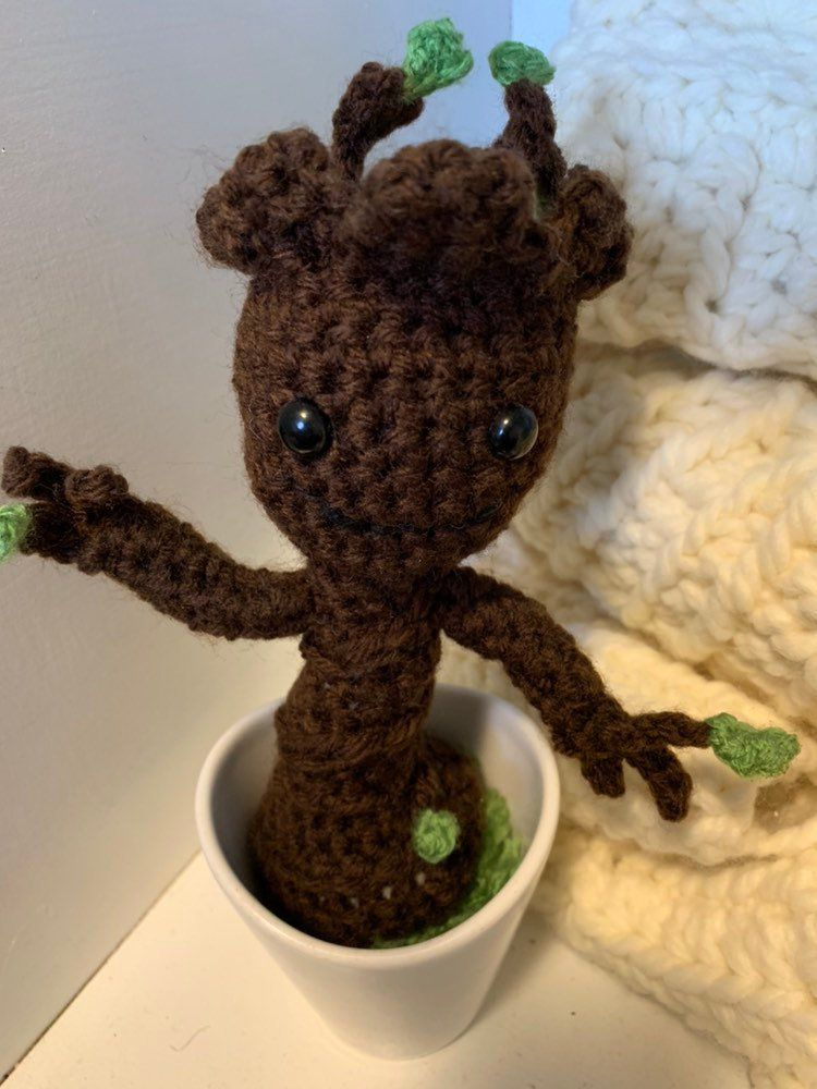 8537b8b2d6f59 Excited to share this item from my #etsy shop: Baby groot, groot, crochet  groot in a pot, flexible arms, poseable arms, ready to ship, only one  available!