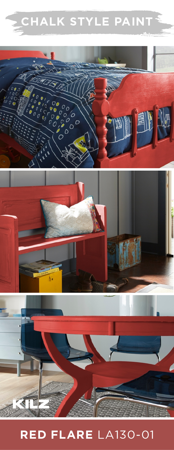 995a25ac094 There s more than one way to use KILZ Chalk Style Paint in Red Flare in  your home. A vivid pop of bright color