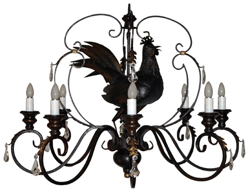Morgan Associates French Chicken Rooster Chandeliers Chan 71a French Chicken 8 Arm Crystals Chandelier For Sale French Country Decorating Chandelier