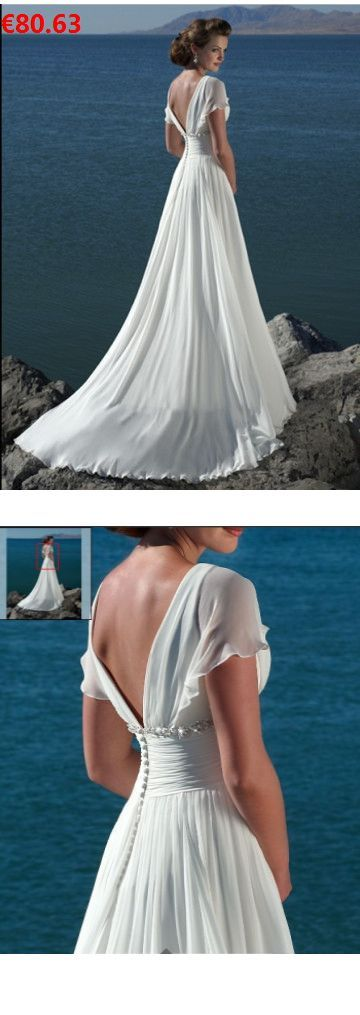 A-line Chiffon V-neck Short Sleeves With Chapel Train Zipper White Simple Weddin… – Brautjungfern Kleider