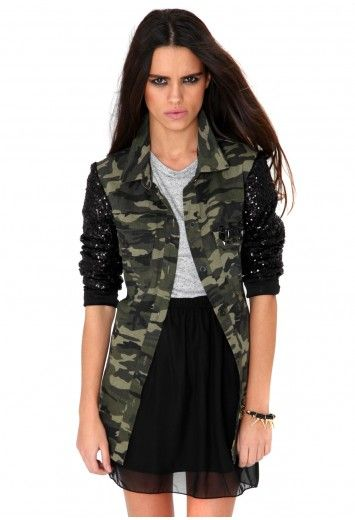 68e2baaf2e7ac Madeleine Camouflage Jacket With Black Sequin Sleeves- jackets- missguided  #MGPARTYEDIT