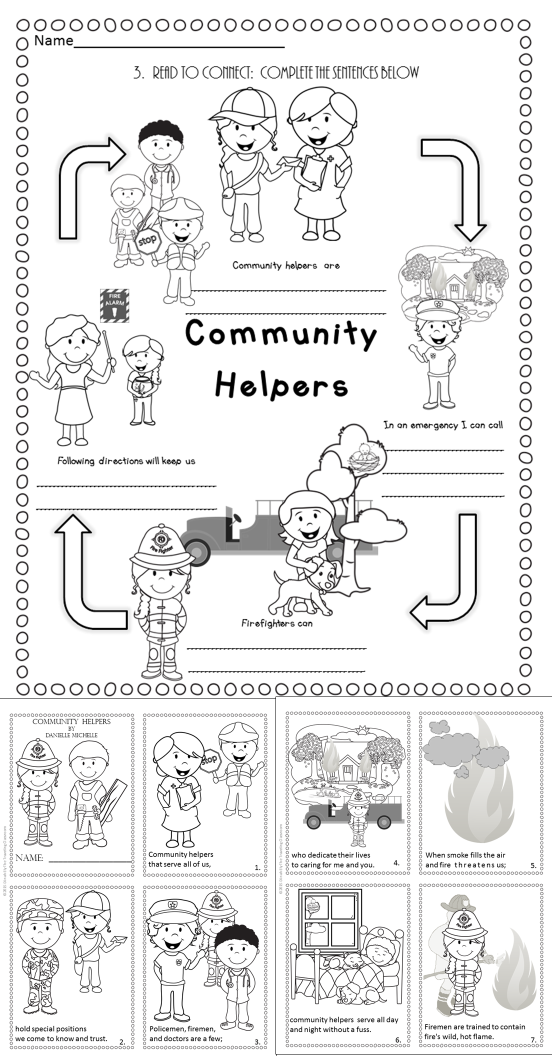 worksheet Community Helper Worksheets fire safety community helpers poetry close reading set mini book
