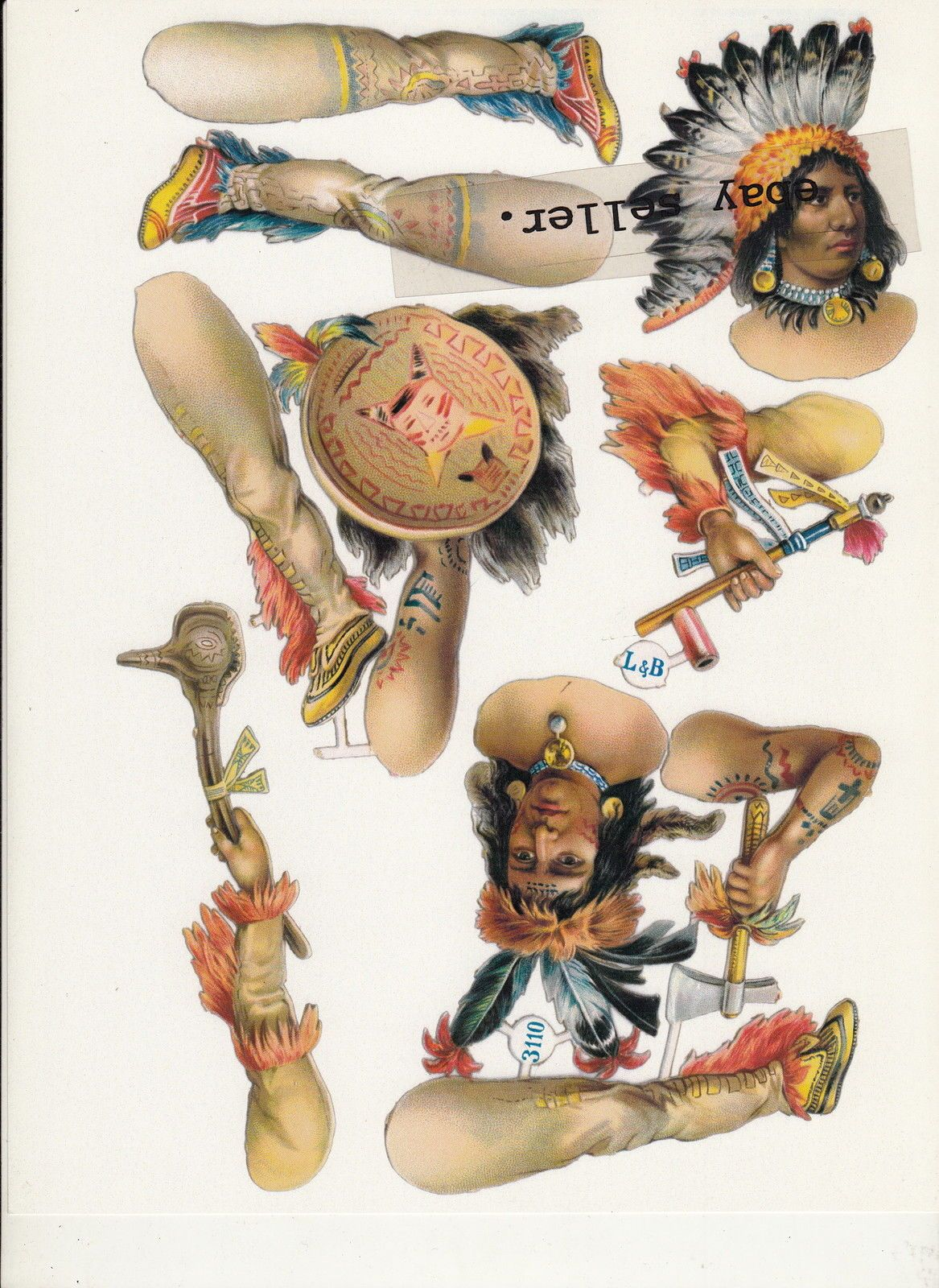 2 Native American Indian Paper Dolls Reprints Of S