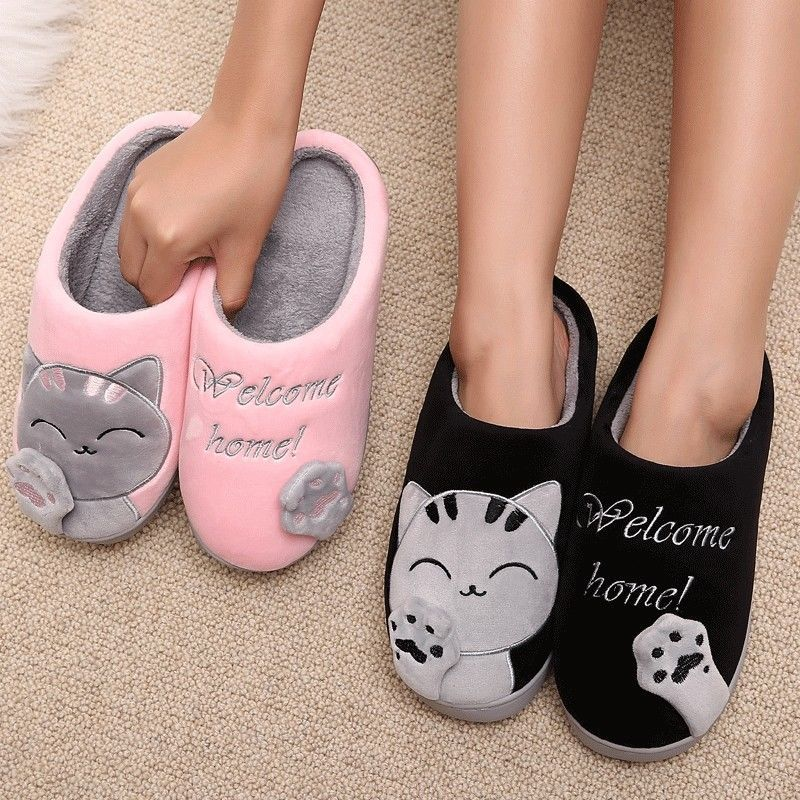305b5aea6 Women Winter Slippers Cartoon Cat Home Shoes Soft Winter Warm Slippers Lady  Wear #Unbranded #ClogSlippers