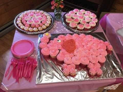Pink Elephant Cupcake Cake For Baby Shower