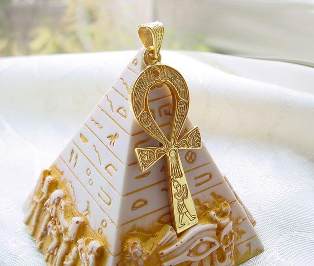 Gold Ankh Pendant Egyptian 18k Engraved King Key Of