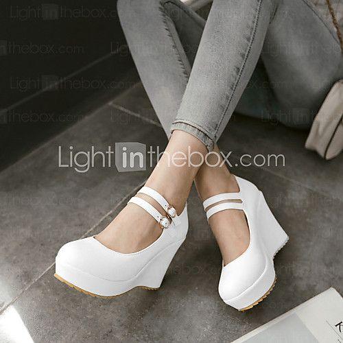 Zapatos de mujer - Tacón Cuña - Cuñas / Tacones / Plataforma - Tacones - Exterior / Vestido / Casual - Semicuero -Negro / Morado / Blanco - MXN $560.81