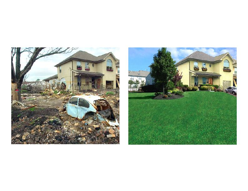 Lawn Doctor House and Lawn Before and After lawn