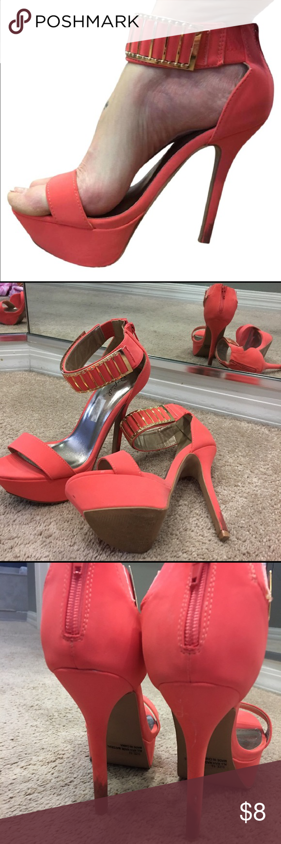 Coral & gold heels Size says 6.5, however I normally wear a 7.5-8, so these run a little big. They have some dirt on the heels-I've not tried to wash them. Otherwise good condition. They've been worn one time to a wedding. Shoes Heels