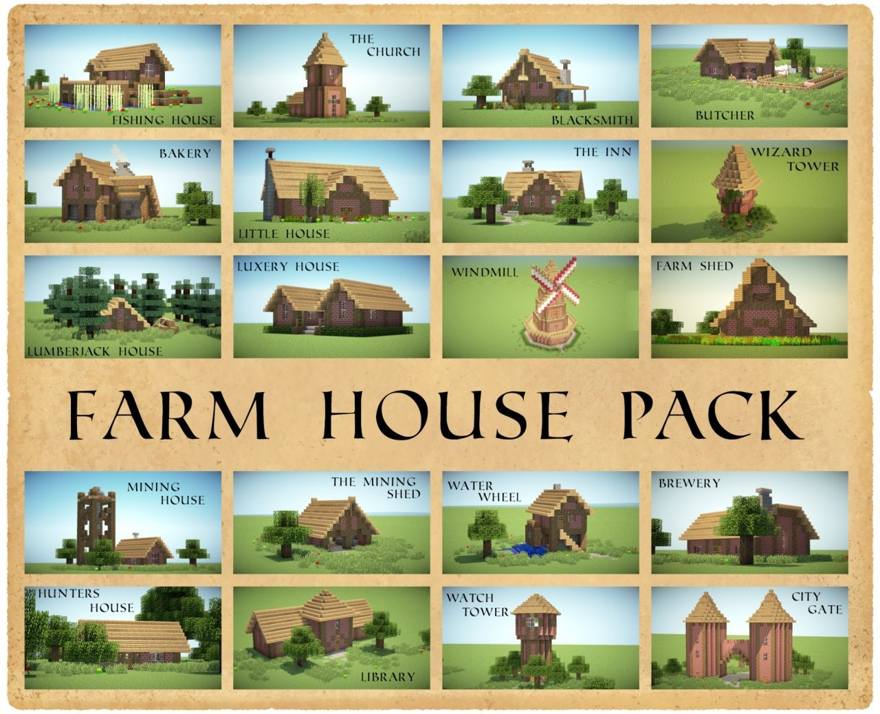 Farm House Pack - 23 Different houses! (With Download!) Minecraft ...