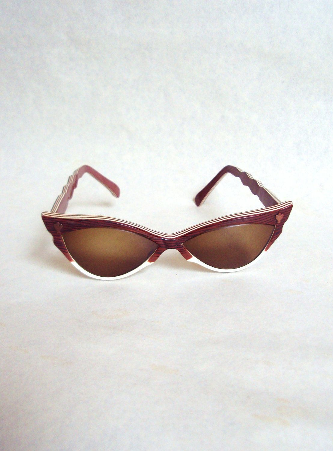 1950s Brown & white stripe cat eye sunglasses