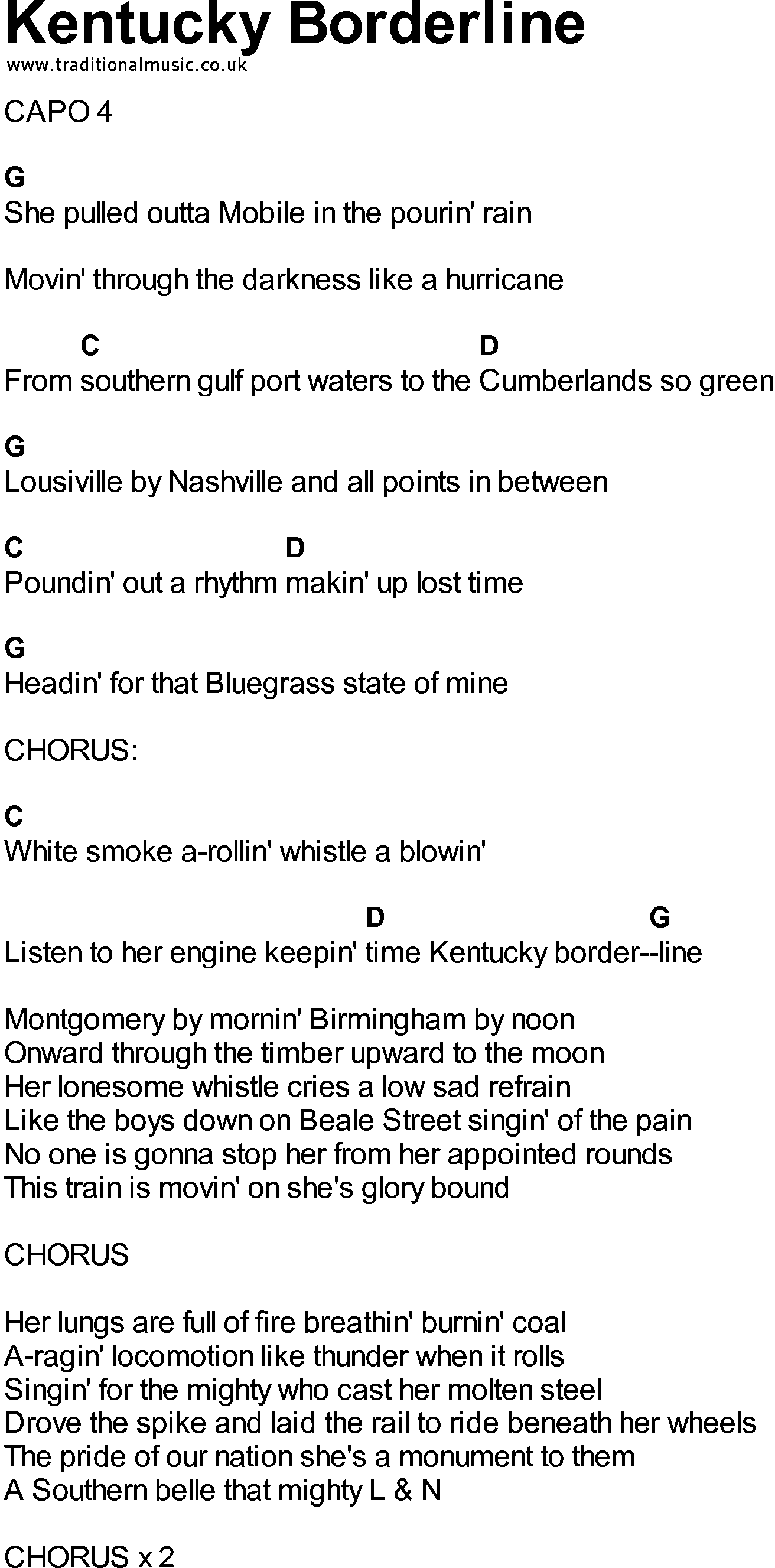 Bluegrass Songs With Chords Kentucky Borderline Music