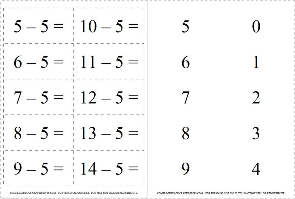 Craftiments: Free Printable Addition and Subtraction Flash Cards, 0 ...