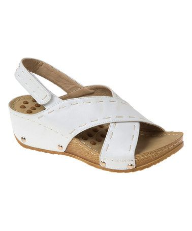 1a34b9916bd Another great find on  zulily! White Crisscross Wedge Sandal by Jade ...