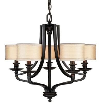 Hampton Bay 5 Light Oil Rubbed Bronze Chandelier Fabric Shades Discontinued Es0571obr At