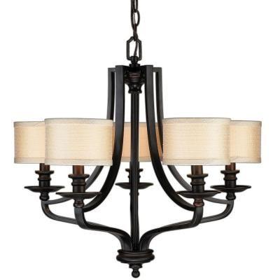 Hampton Bay Light Oil Rubbed Bronze Chandelier Fabric Shades - Bronze dining room light