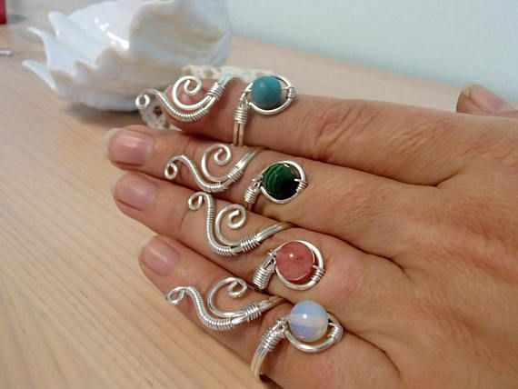 Adjustable Wire Ring, Silver Ring, Swirl Ring, Malachite